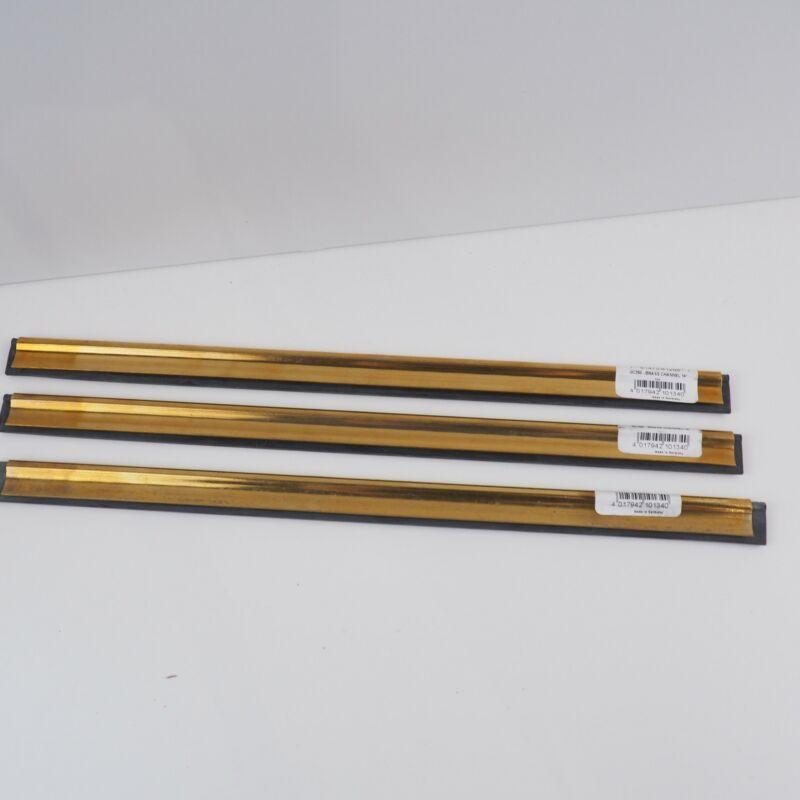 """Set of 3 Genuine Unger 14"""" Brass Channel Squeegee Blade GC350 Golden Clip Pro"""