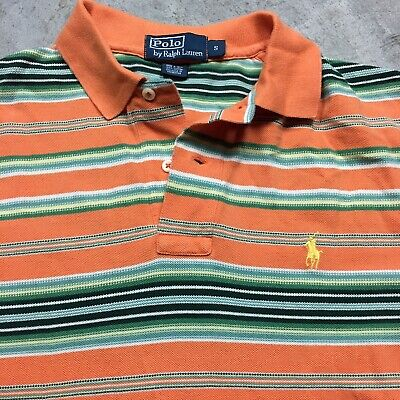 POLO RALPH LAUREN 90s VTG Southwest Aztec Blanket Striped Shirt S Orange Yellow
