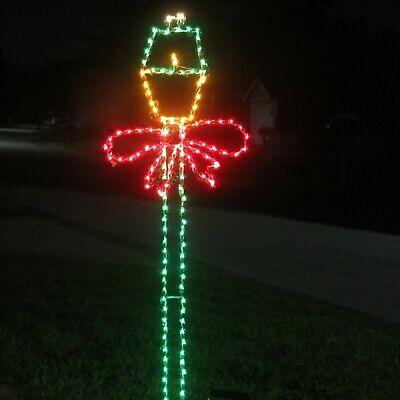 Christmas Lamp Post With Bow, M5 LED Lights