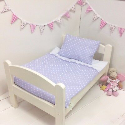 DOLLS BED PRAM/COT BEDDING SET ~ LILAC DOTTY ~  BABY ANNABELL/BORN for sale  Shipping to Ireland