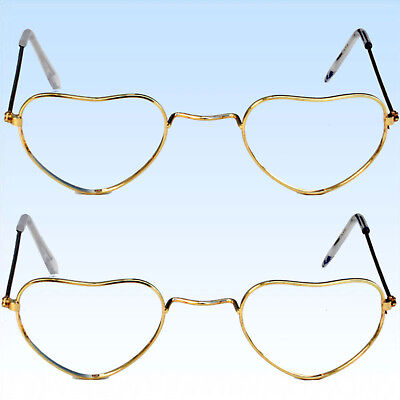Rosa Herzen Sonnenbrillen (2 x Herzbrille Liebesbrille Brille in Herzform Unisex Liebe Brillen Glaslos)