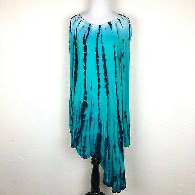 XCVI Womens Chiffon Tie Dye Ombre Hi-Low Dress Long Slv Asymmetric Hem Blue Sz M Chiffon Tie Dye Tie