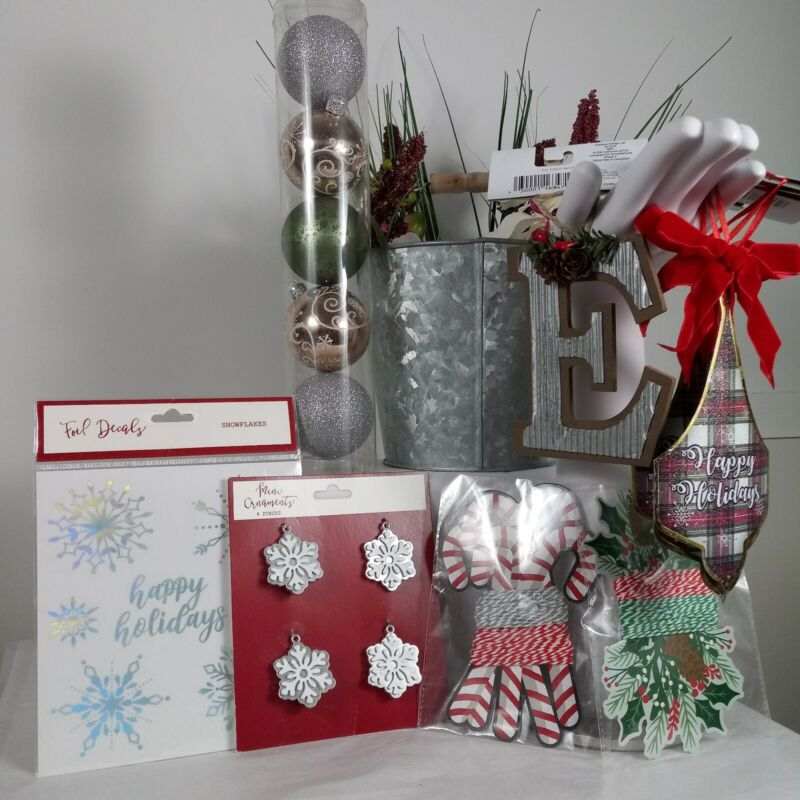 NEW Christmas Bundle Assorted Variety 9 Items Holiday Decor Ornaments Decals Etc