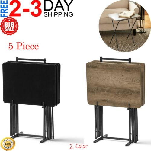 TV Folding Table Set 5-Piece Modern Wood Snack Dinner Tray w/ Stand NEW