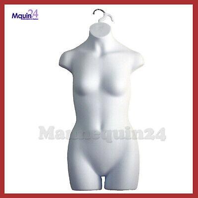 Mannequin Teen Girl - Kids Sizes 10-12 - White Plastic Hanging Dress Form