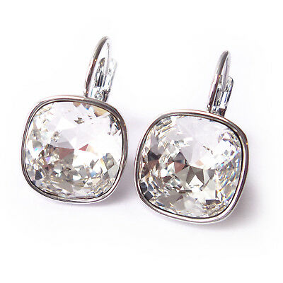Clear Silvertone Drop Earrings w/ 12mm Cushion Cut Swarovski Crystal Mothers Day ()