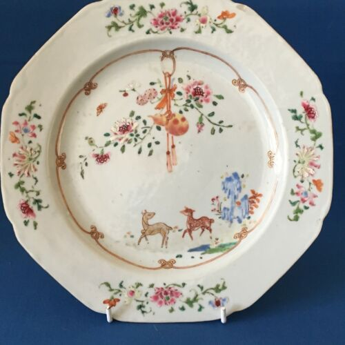 Chinese Octagonal Plate hand painted water deers butterfly c.1780