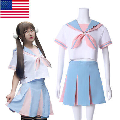 Girl Student School Uniform Rabbit Bunny Sailor Dress Short Sleeve Skirt Costume - Girls Sailor Costume