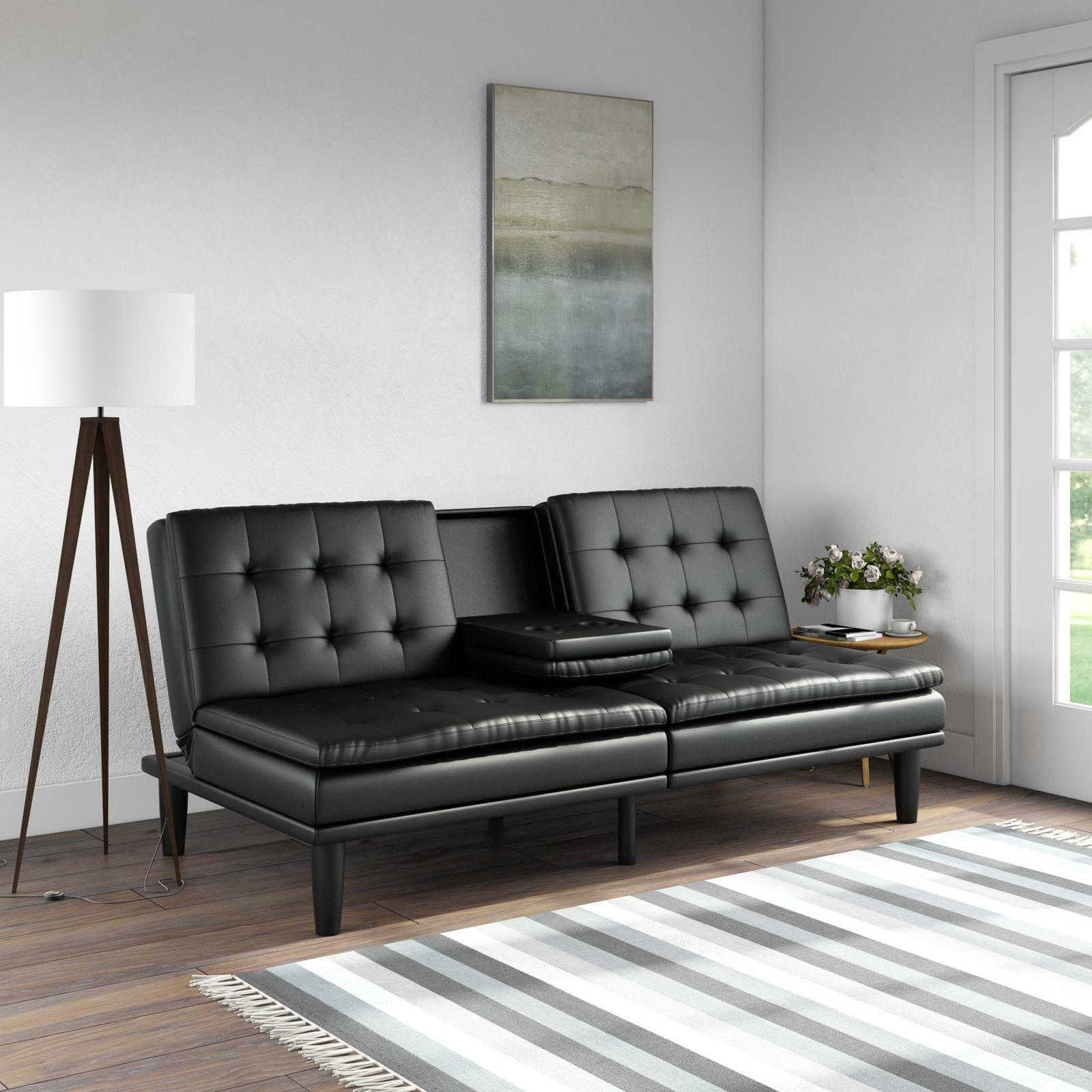Details About Futon Sofa Bed Memory Foam Pillowtop W Cupholder Black Dark Brown Couch