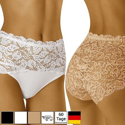 Unterhose Damen Hotpants Reichen Spitze Hohe Taille Slips Blumenmuster S M L XXL - Hohe Taille Spitze