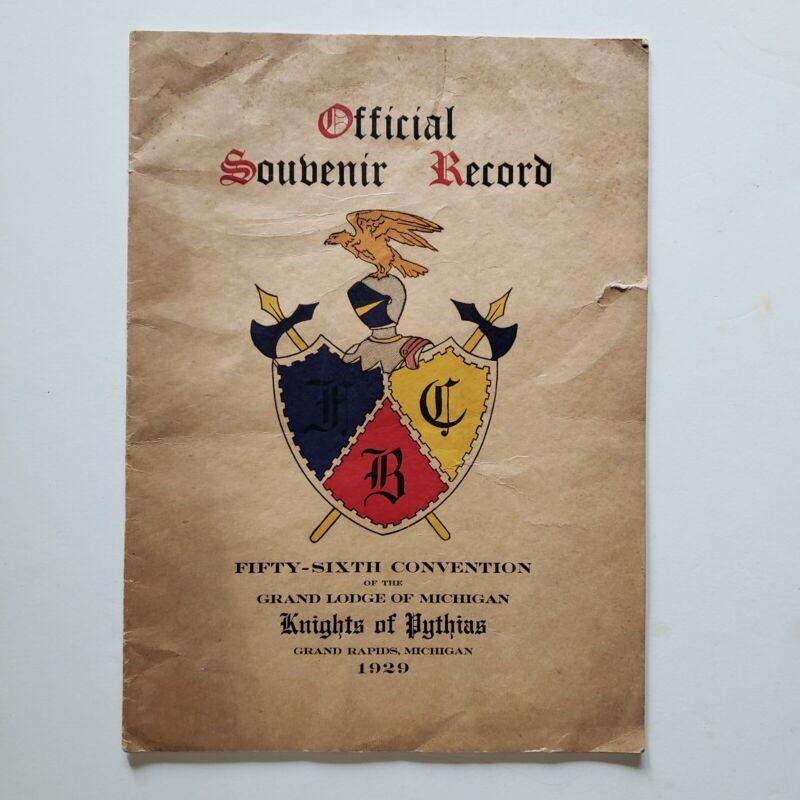 Vintage 1929 Knights of Pythias Official Souvenir Record Grand Rapids Michigan