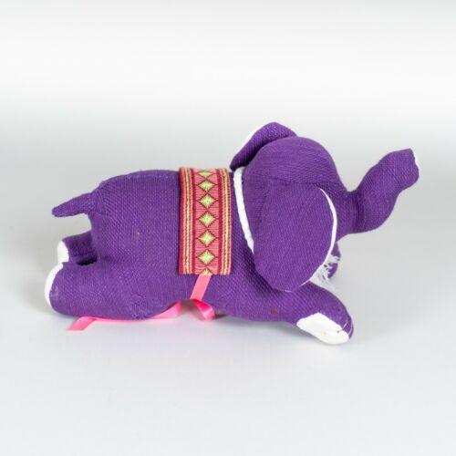 Handmade+Purple+Linen+Textile+Elephant+Handmade+Stuffed+Soft+Plush+Toy+New+%236272