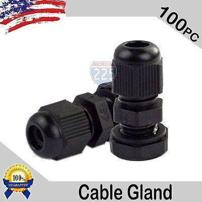100 Pcs PG7 Black Nylon Waterproof Cable Gland 3-6.5mm Dia. w/ Lock-Nut & Gasket