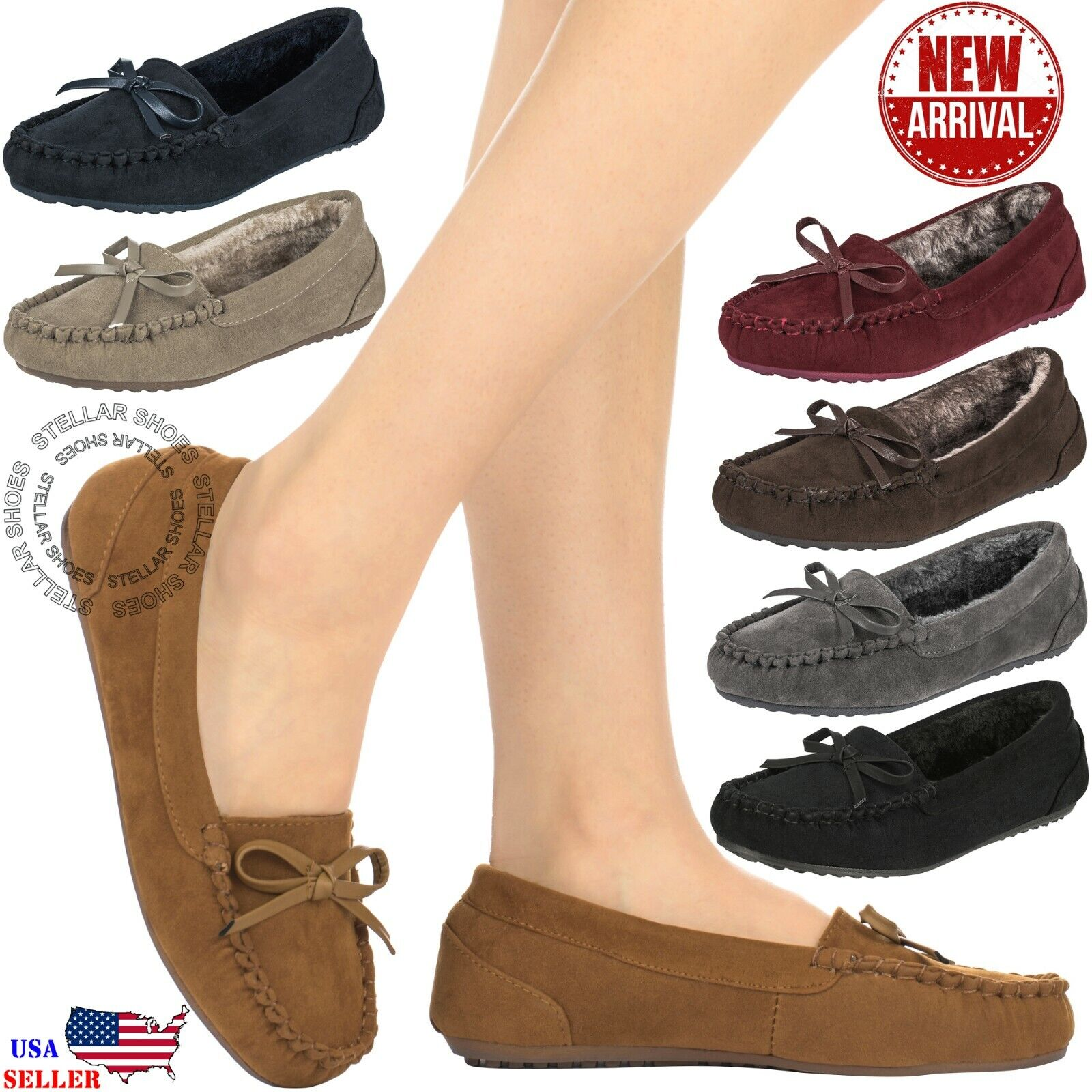 CLOVERLY Women's Moccasin Faux Fur Suede Slippers Moccasins Comfortable Slippers
