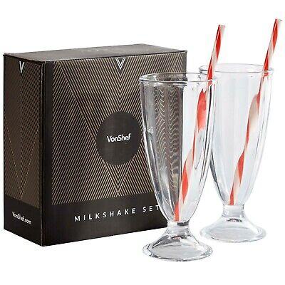 VonShef Set of 2 American Style Milkshake Ice Cream Glasses