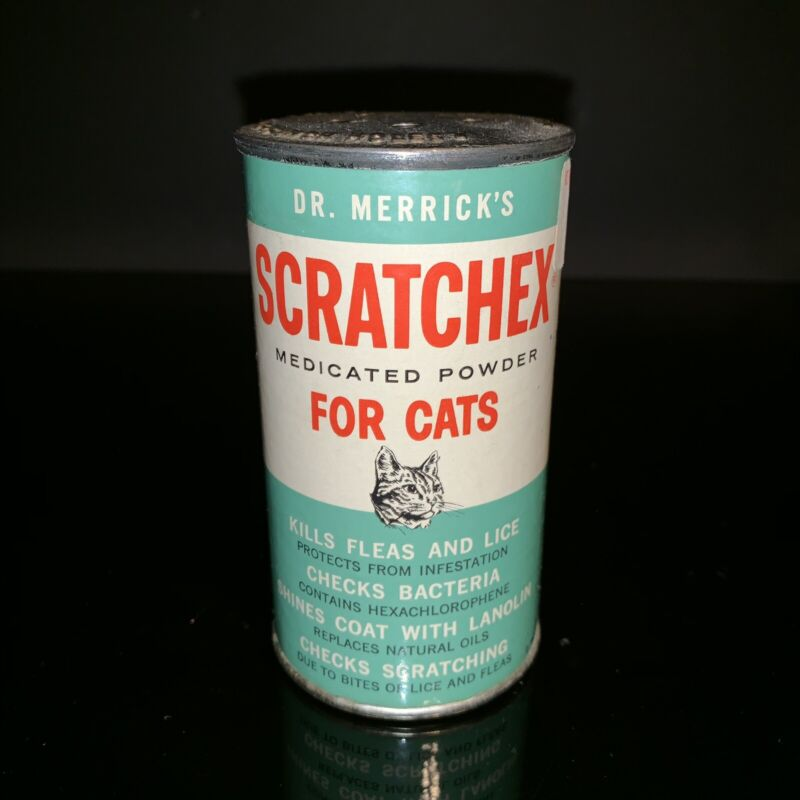 Scratched Medicated FLEA POWDER Paper Label CAN DOG CAT VINTAGE PET Store 1960's