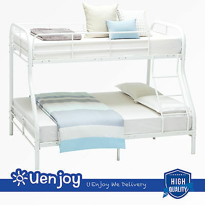 White Twin over Full Metal Bunk Beds Kids Teens Dorm w/Ladder