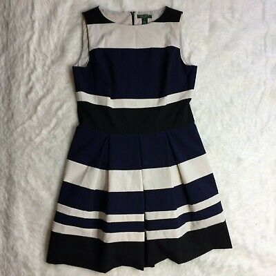 Lauren by Ralph Lauren Womens Dress Blue Size 16 A-Line Striped Sleeveless M8