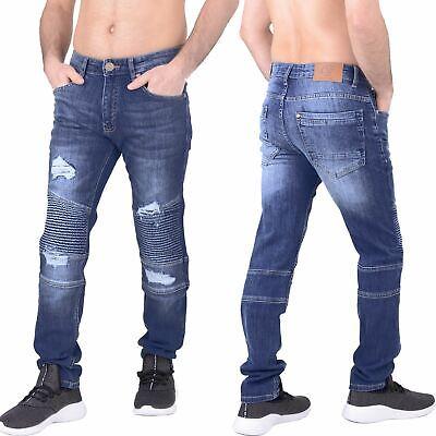 Mens Crosshatch Jeans Straight Leg Dark Blue Cotton Best Denim Pants Trousers