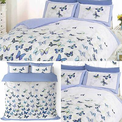 Blue Duvet Covers Flutter Butterflies Floral Reversible Bedding Quilt Sets ()