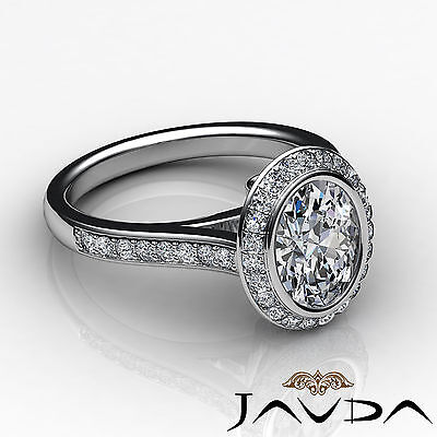 Cathedral Halo Pave Bezel Setting Oval Diamond Engagement Ring GIA H VS2 1.8 Ct 2
