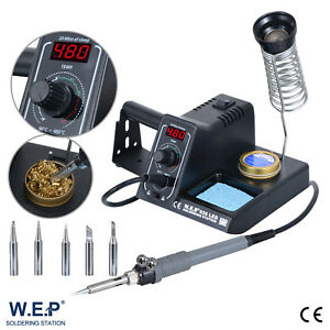 60W Soldering Iron Station Rework Kit Variable Temperature Stand Digital LED WEP