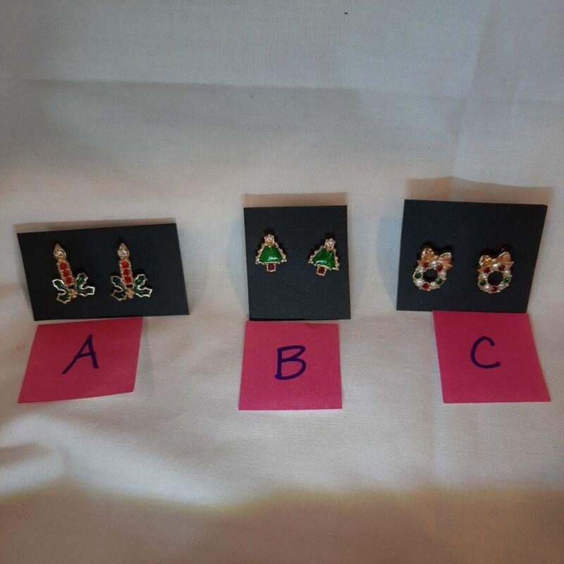 Vintage Christmas pierced earrings rhinestone  trees, wreaths