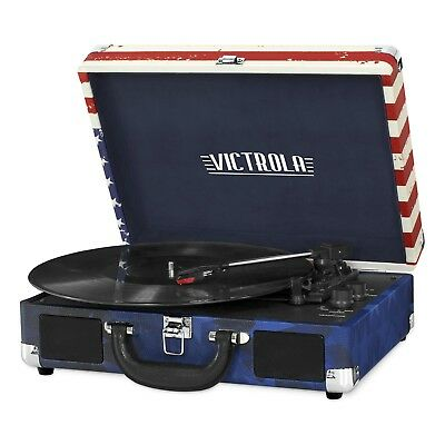 Bluetooth Suitcase Record Player Victrola 3 Speed Turntable Listen Playing Music