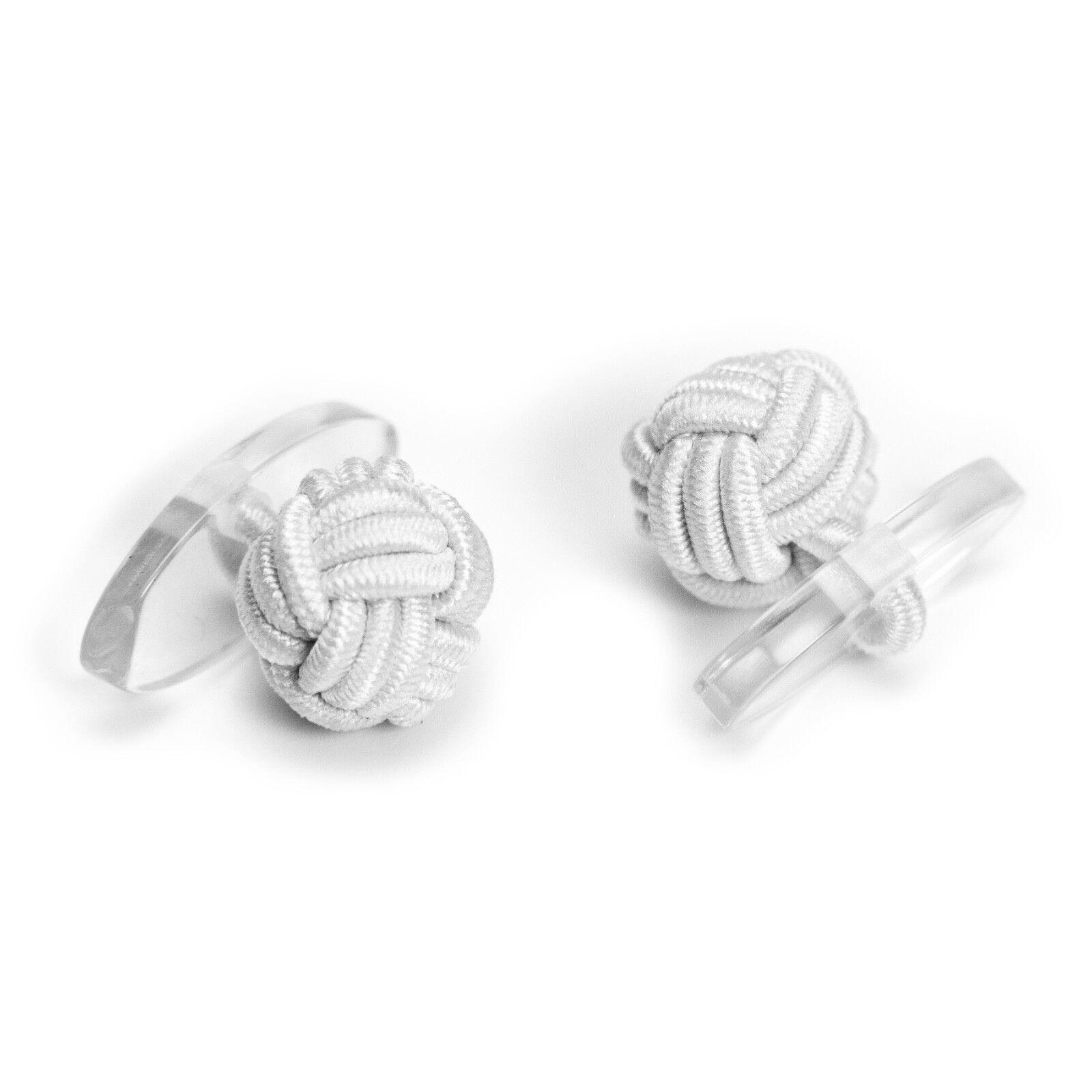 1 Paar Seidenknoten Manschettenknöpfe Cufflinks, weiß mit Plastik-Steg innen