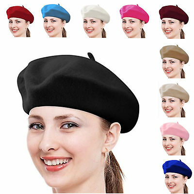 Women French Beret  Wool Solid Color Plain 100% Wool