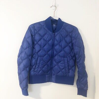 Uniqlo Down Filled Bomber Jacket Blue Women's Size Small