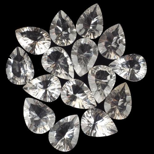 VVS 16 Pcs Finest Natural White Quartz Pear Concave Cut Loose Gems Wholesale