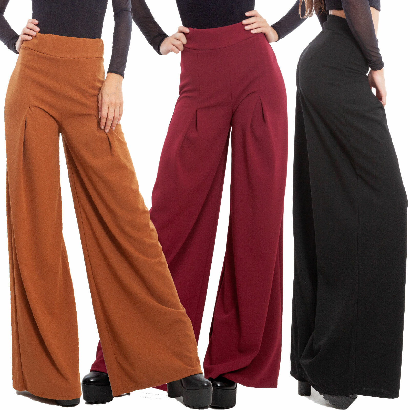 Pantalones Edificio Mujer Elegantes Dart Flare Talle Alto Invierno Toocool Ebay