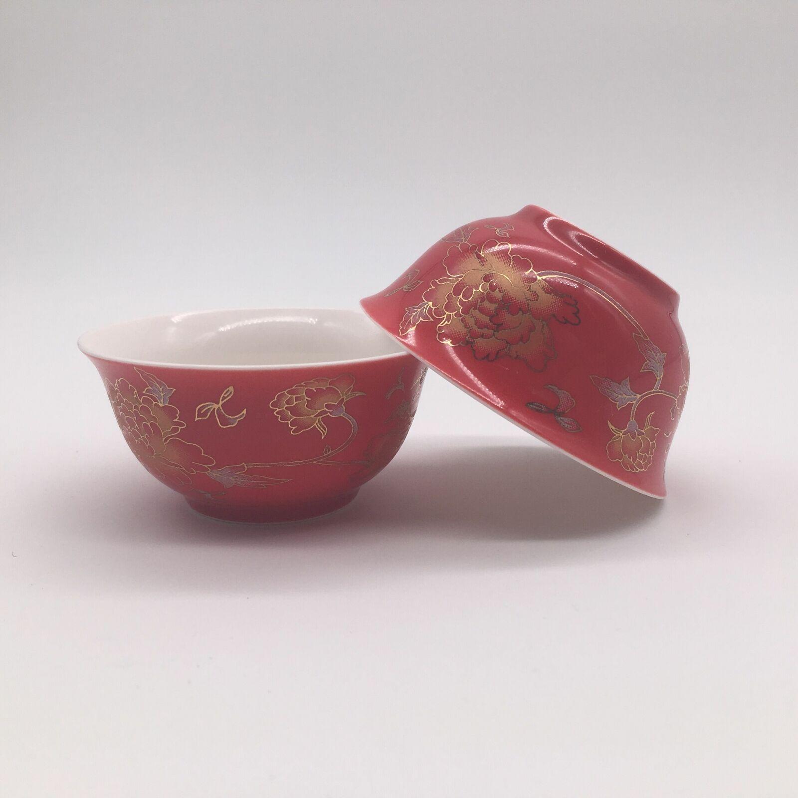 2pcs tea cups under glaze floral print porcelain kungfu tea