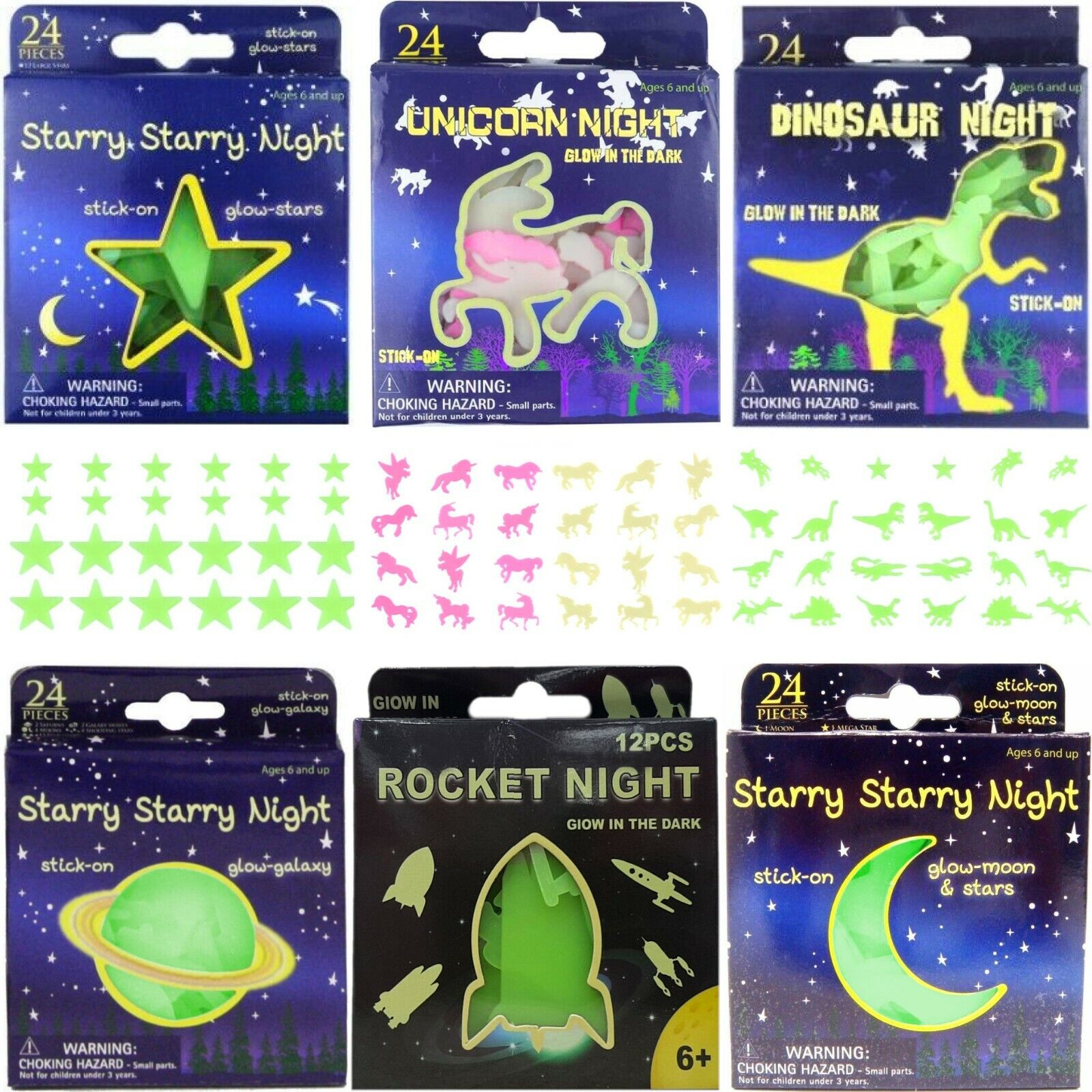 Home Decoration - Glow in the Dark Stars Planets Moons Dinosaurs Unicorns Ceiling Wall Stickers