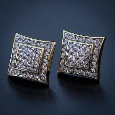 (Men's Big Hip Hop Square Gold Diamond Earrings)