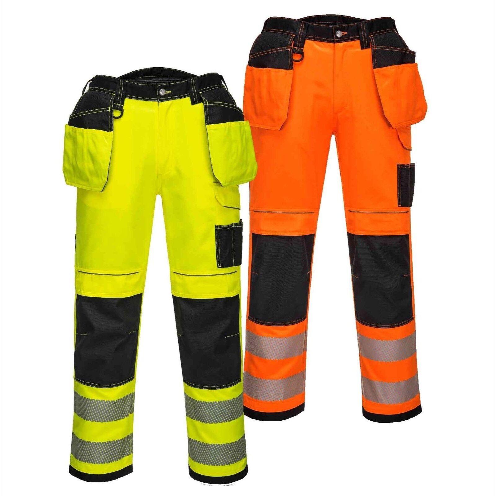 Portwest Hi Vis Two Tone Hi Vis Work Safety Trousers Knee Pad Pockets PW3 T501
