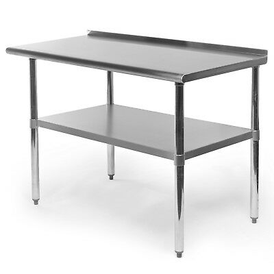 Stainless Steel Kitchen Restaurant Prep Work Table With Backsplash - 24 X 48