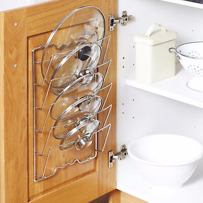 CUPBOARD SAUCEPANS PAN LIDS STORAGE RACK HOLDER – HOLDS 5 LIDS
