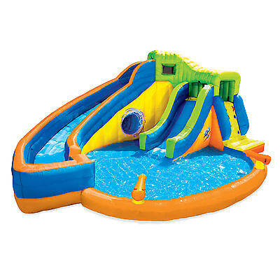 Banzai Pipeline Twist Inflatable Water Park Pool with Slides & Cannons