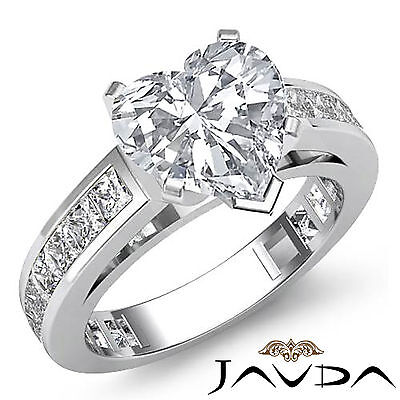 Cathedral Prong Channel Setting Heart Diamond Engagement Ring GIA G SI1 2.2 Ct
