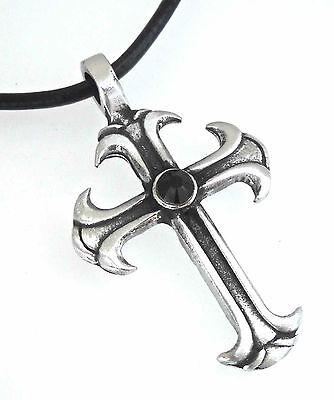 - Silver PEWTER CROSS Christian Gothic JET BLACK Onyx AUSTRIAN Crystal Pendant