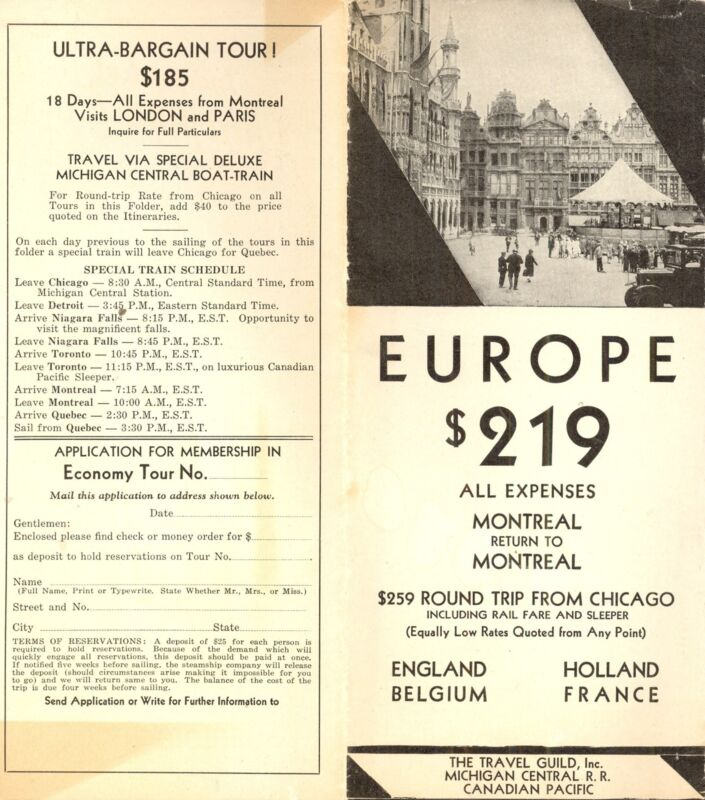 Travel Guild Vintage Brochure Cruises from Montreal Tours in Europe Circa 1930s