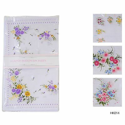 8 Pack Ladies White Hankies Floral Print Poly Cotton Handkerchiefs Handy HK014