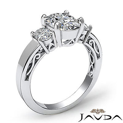 3 Stone Oval Cut Diamond Women's Engagement Filigree Shank Ring GIA I SI1 1.45Ct 1