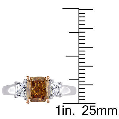 Amour Brown & White Diamond 3-Stone Engagement Ring in 2-Tone 14k Gold 3
