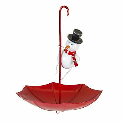 Snowman Umbrella Garden Bird Feeder – Novelty Metal Tree Hanger Fountasia