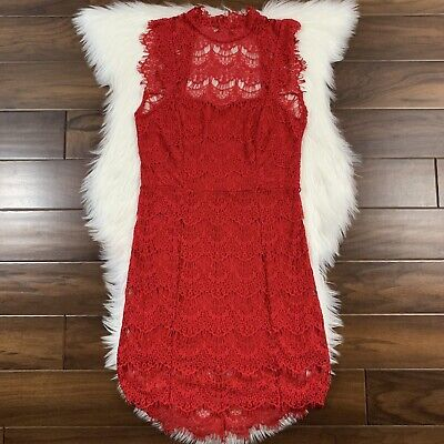 Intimately Free People Women's Size Large Red Daydream Bodycon Slip Lace Dress