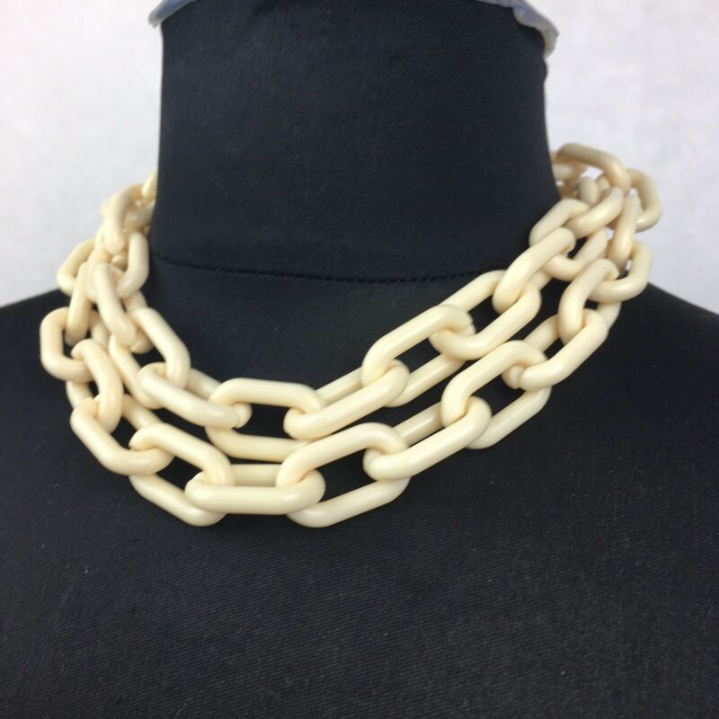 """Vintage Plastic Bakelite? Chain Link Chunky Necklace Approx 35"""" Length"""