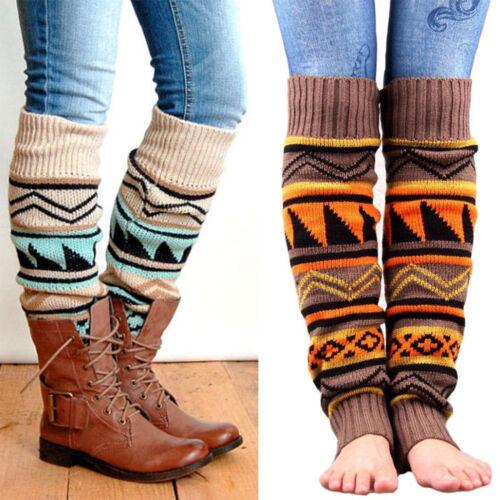 Boho Women Leggings Winter Warm Leg Warmers Cable Crochet Kn